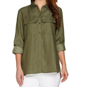 NWT C. WONDER BUTTON DOWN CARRIE BLOUSE OLIVE 16
